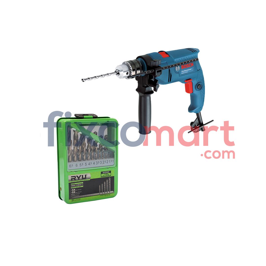 Bosch Bor Beton 13 mm GSB 550 + Ryu Mata Bor Hss Cobalt 1-13mm
