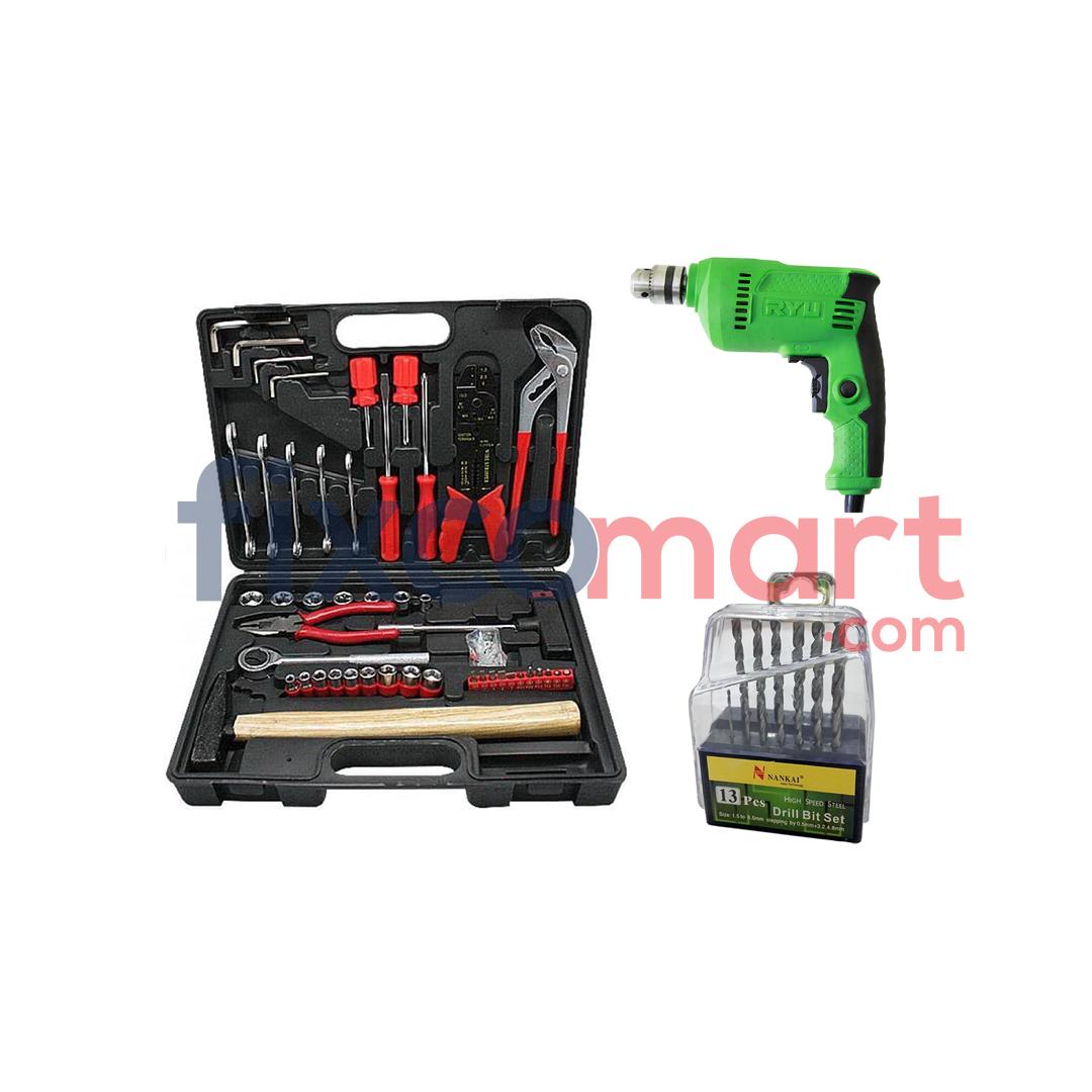 Kenmaster Tool Kit 100 Pcs + Ryu Bor RDR 10-3 dan Mata Bor Set 13 Pcs