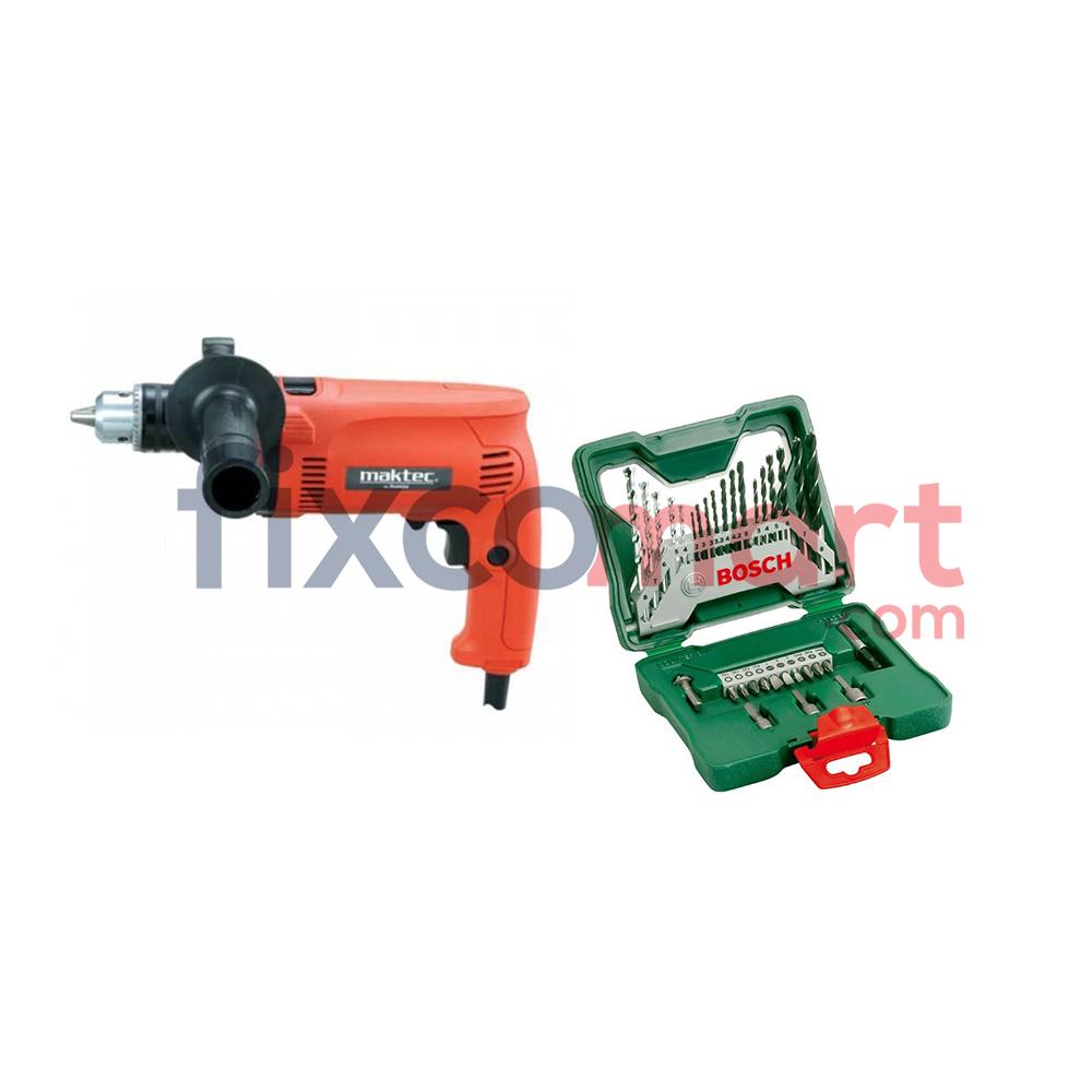 Mesin bor MAKTEC MT80B + BOSCH X-LINE mata bor dan mata obeng 33 pcs