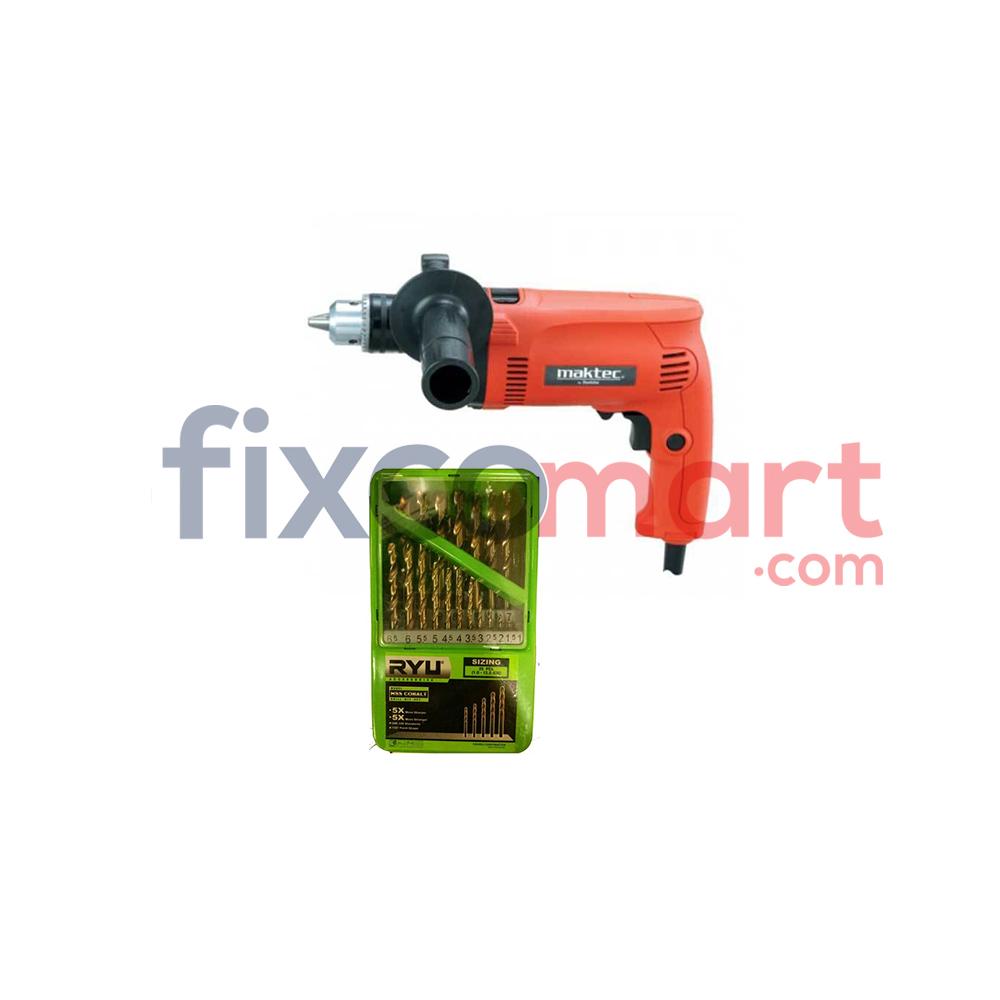 Mesin bor MAKTEC MT80B + Mata bor set RYU HSS COBALT 1 - 10 mm 19 pcs