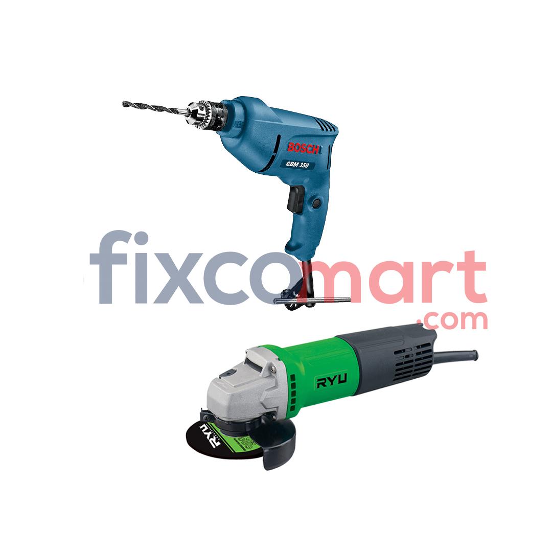 Mesin Bor Tangan Bosch GBM 350 + Gurinda Ryu Rsg 100-3
