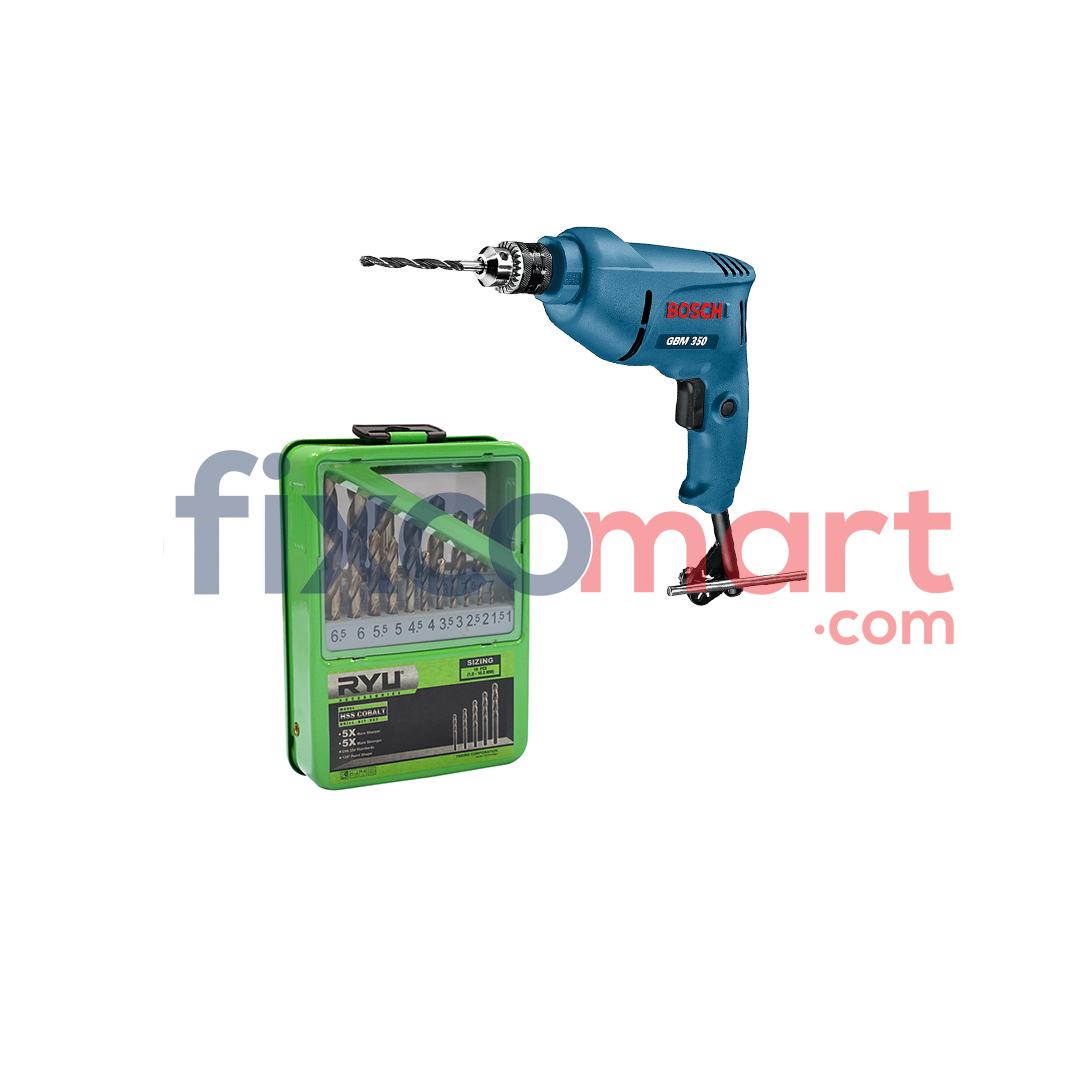 Mesin Bor Tangan Bosch GBM 350 + Ryu Mata Bor Set Hss Cobalt 1-10