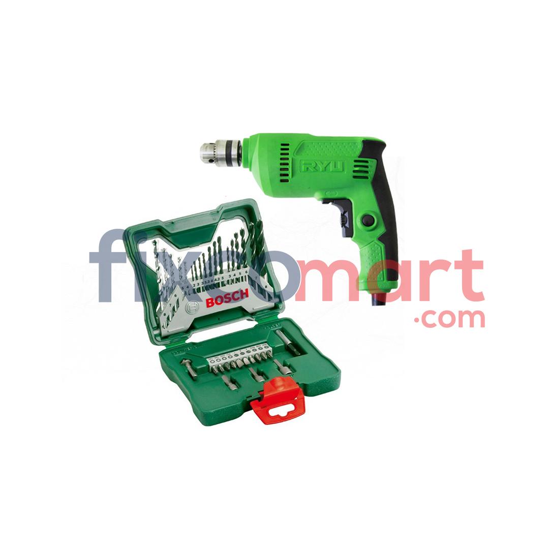 Mesin Bor Tangan Ryu RDR 10-3 + Bosch Mata Bor Obeng 33 Pcs X-line