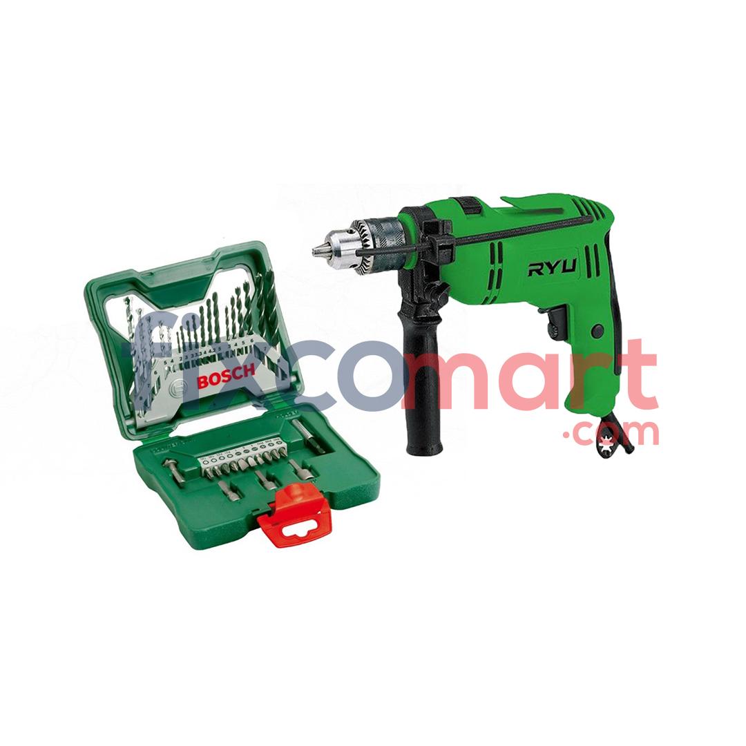 Mesin Bor Tangan RYU RID 13 + Bosch X-Line Mata Bor Dan Obeng Variasi