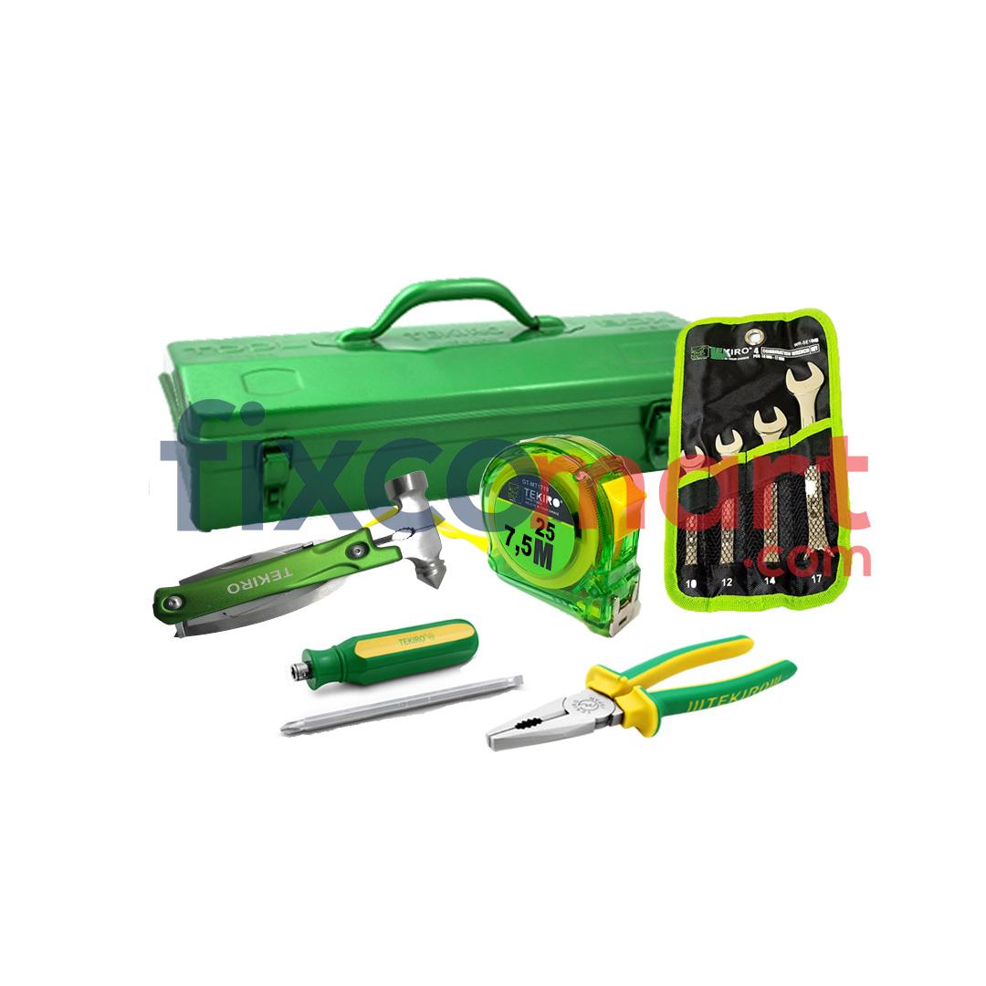 Paket Alat Rumah Tangga Obeng Tang Toolbox Tool Box Meteran Murah