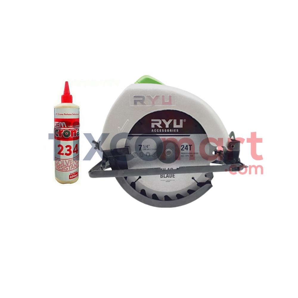 Paket Mesin Potong Kayu RYU RCS 185-1 + Crona lem Kayu 234 600Gram